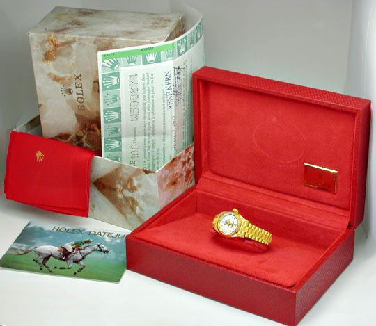 Foto 5, Rolex Datejust Damenuhr Gelbgold Borke Geprüft Neuzust., U1085