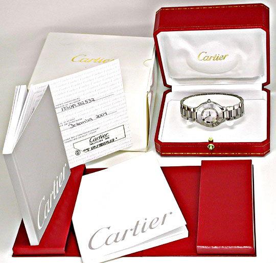 Foto 5, Cartier 21 Must.de Cartier Herrenarmbanduhr Topuhr Neuz, U1086