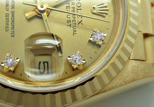 Foto 3, Rolex Datejust Da Gold Diamantzifferblatt Geprüft Neuz., U1096
