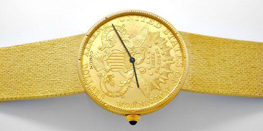 Foto 1, Corum 20 Dollar Armbanduhr Milanaise Band Geprüft Neuz., U1097