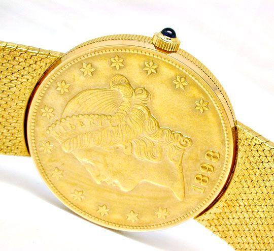 Foto 5, Corum 20 Dollar Armbanduhr Milanaise Band Geprüft Neuz., U1097