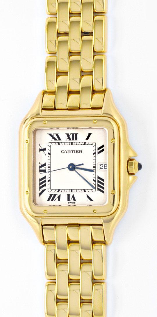 Foto 2, Cartier Herren Armbanduhr Panthere 18K Gelbgold Geprüft, U1099