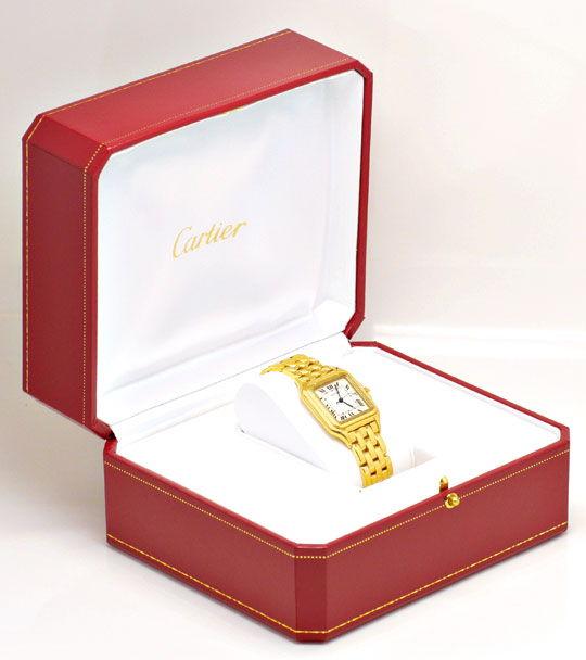 Foto 5, Cartier Herren Armbanduhr Panthere 18K Gelbgold Geprüft, U1099