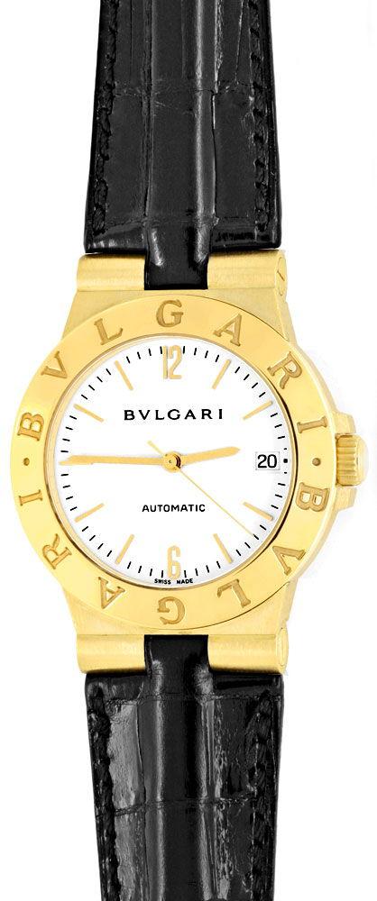 Foto 2, Bulgari Diagono Automatik, Hr Bvlgari Gold Kroko Topuhr, U1101