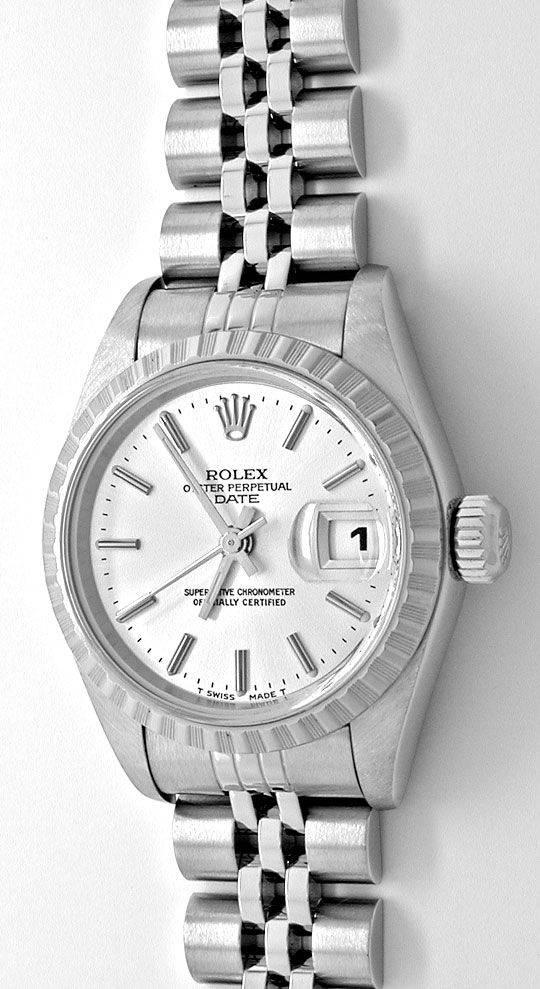 Foto 2, Rolex Date Damen Oyster Perpetual Stahl Topuhr Neuzust., U1102