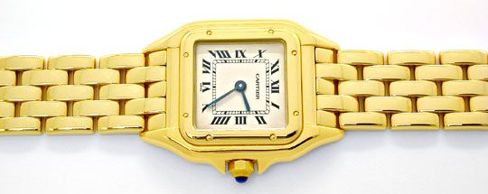 Foto 1, Cartier Panthere Damen Armband Uhr 18K Gelbgold Geprüft, U1107