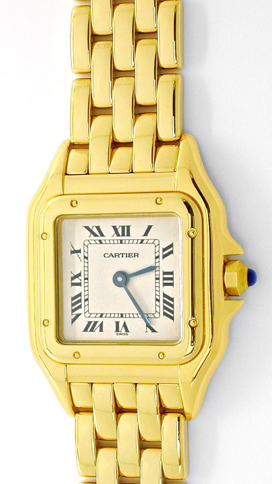 Foto 2, Cartier Panthere Damen Armband Uhr 18K Gelbgold Geprüft, U1107