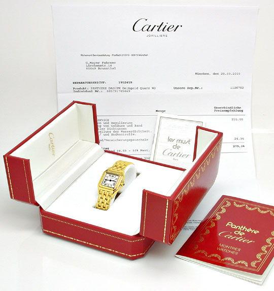 Foto 5, Cartier Panthere Damen Armband Uhr 18K Gelbgold Geprüft, U1107