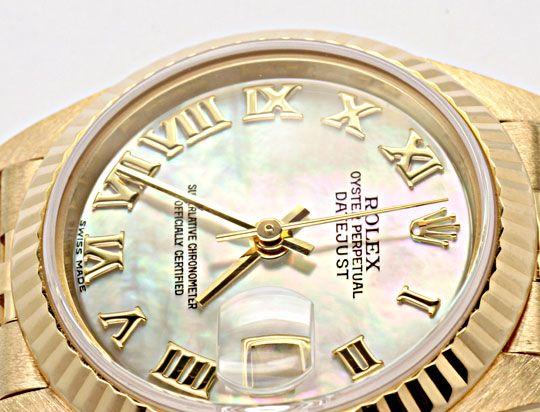 Foto 3, Rolex Datejust Da Gold Perlmut Zifferblatt Geprüft Neuw, U1108