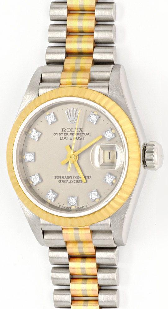 Foto 2, Rolex Datejust Tridor Damen Diamanten Geprüft Neuzust.!, U1112