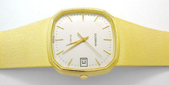 Foto 1, Dugena Herren Armbanduhr 14K Gelbgold Topuhr Neuzustand, U1113