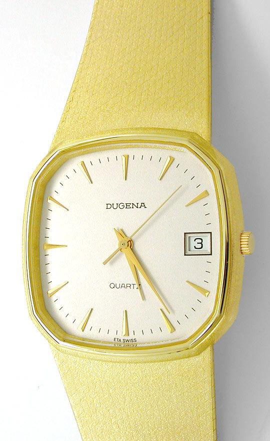 Foto 2, Dugena Herren Armbanduhr 14K Gelbgold Topuhr Neuzustand, U1113
