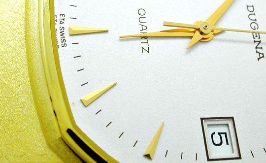 Foto 3, Dugena Herren Armbanduhr 14K Gelbgold Topuhr Neuzustand, U1113
