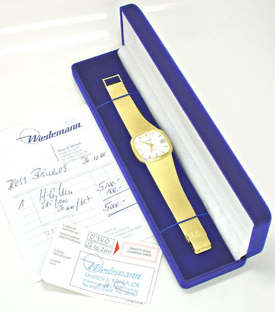 Foto 5, Dugena Herren Armbanduhr 14K Gelbgold Topuhr Neuzustand, U1113