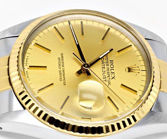Foto 3, Rolex Datejust Herren Armbanduhr Stahlgold Topuhr Neuz., U1136