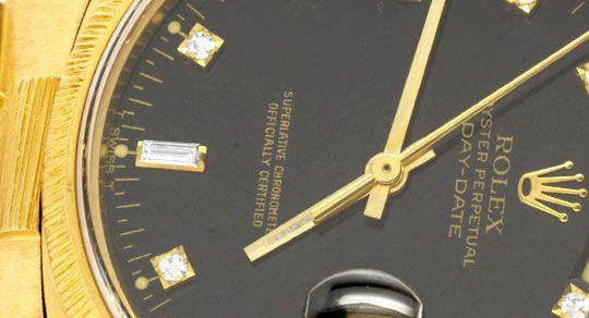 Foto 3, Rolex Day Date Rinde Diamantzifferblatt Schwarz Geprüft, U1138