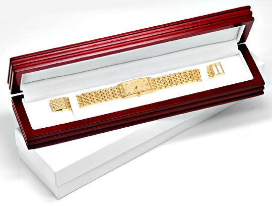 Foto 6, Massiv Goldene Damen Armbanduhr Goldband, Priosa Topuhr, U1155