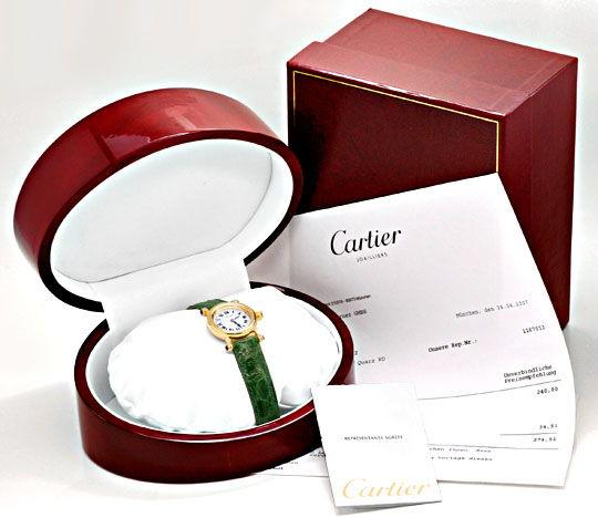 Foto 5, Cartier Diabolo Damenuhr Gelbgold, Faltschliesse Topuhr, U1159