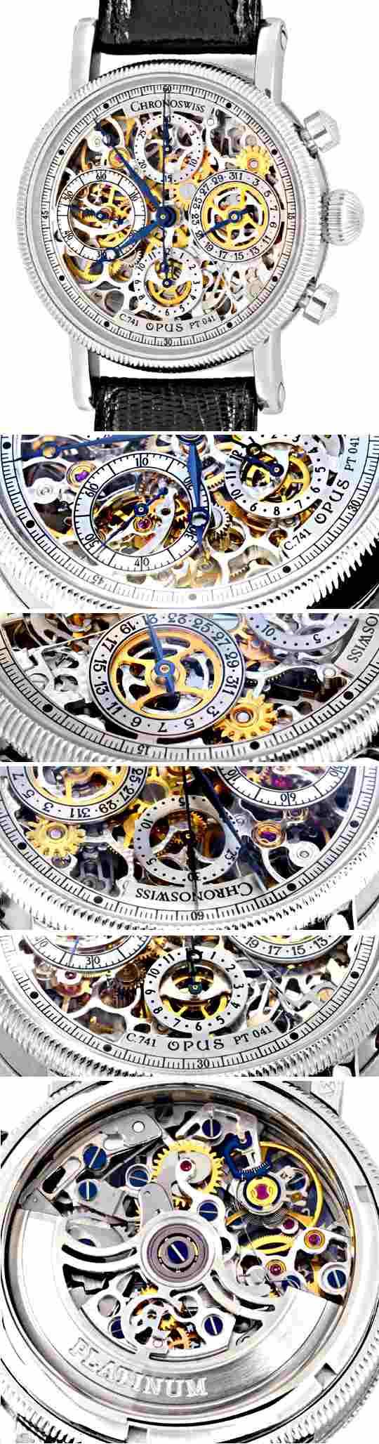 Foto 3, Chronoswiss Opus Platin Chronograph Skelletiert Geprüft, U1160