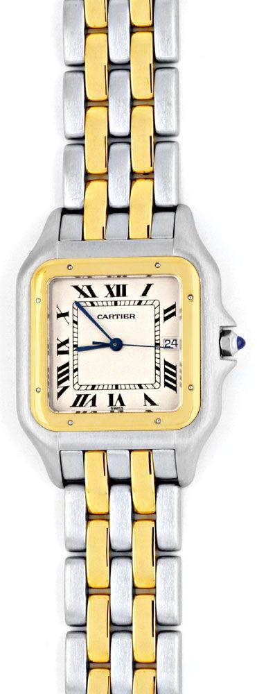 Foto 2, Rarität Cartier XXL Uhr Panthere Stahlgold Topuhr Neuw., U1161
