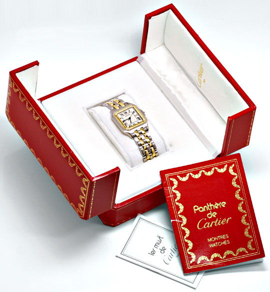 Foto 5, Rarität Cartier XXL Uhr Panthere Stahlgold Topuhr Neuw., U1161