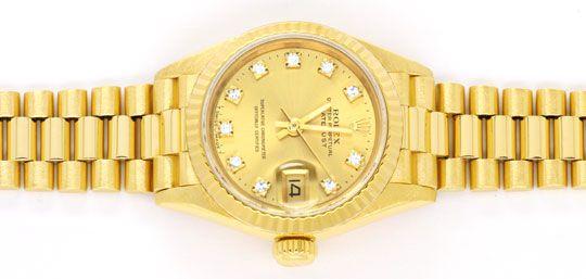Foto 1, Rolex Datejust Damen Gold, Diamant Zifferblatt, Geprüft, U1166