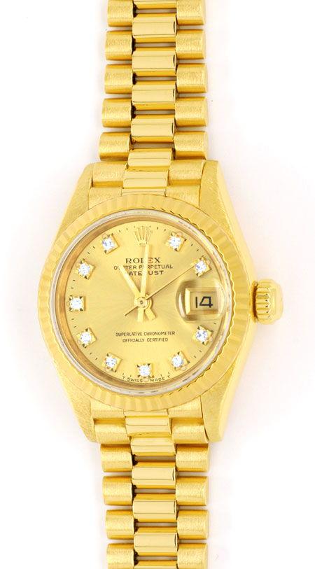 Foto 2, Rolex Datejust Damen Gold, Diamant Zifferblatt, Geprüft, U1166