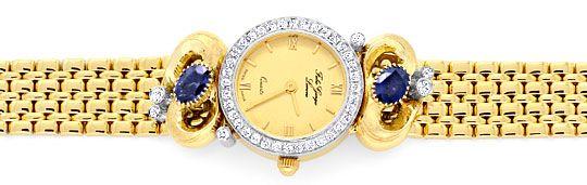 Foto 1, Safir Brillanten Damen Armbanduhr Fabio Giorgio Geprüft, U1184