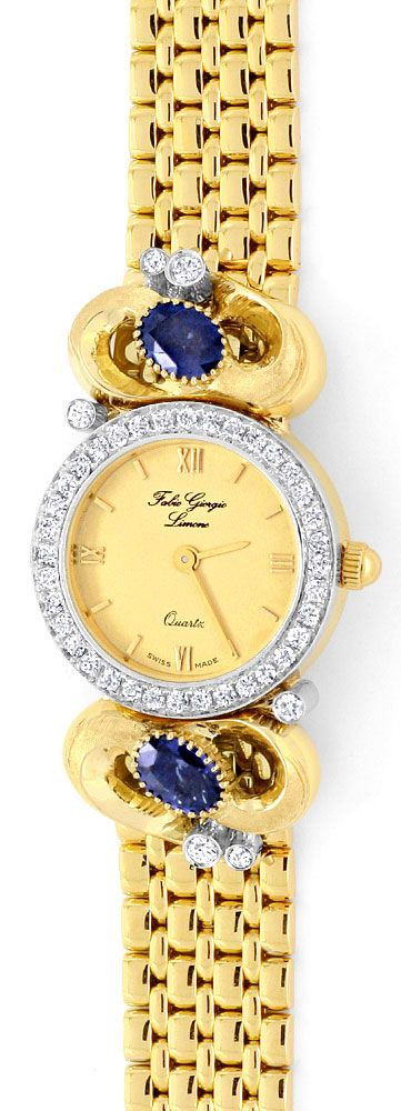 Foto 2, Safir Brillanten Damen Armbanduhr Fabio Giorgio Geprüft, U1184
