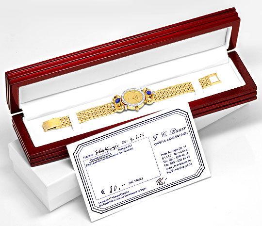 Foto 5, Safir Brillanten Damen Armbanduhr Fabio Giorgio Geprüft, U1184