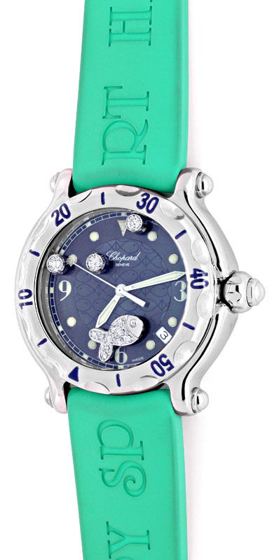 Foto 2 - Chopard Diamant Uhr Happy Sport Happy Fish Beach Topuhr, U1192
