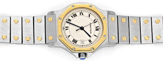 Foto 1, Cartier Santos Ronde Achteckig Stahl Gold Quartz Topuhr, U1193