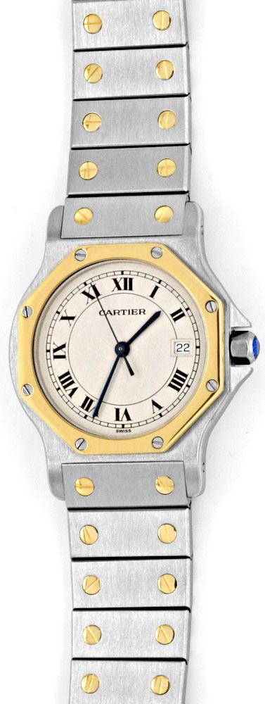 Foto 2, Cartier Santos Ronde Achteckig Stahl Gold Quartz Topuhr, U1193