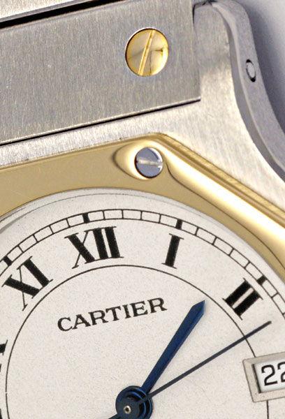 Foto 4, Cartier Santos Ronde Achteckig Stahl Gold Quartz Topuhr, U1193