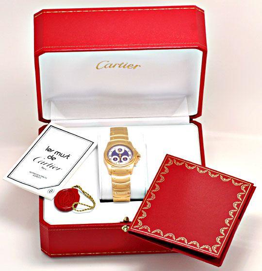 Foto 5, Uhr Cartier Santos Ronde Galbee Chronograph 18K Geprüft, U1195