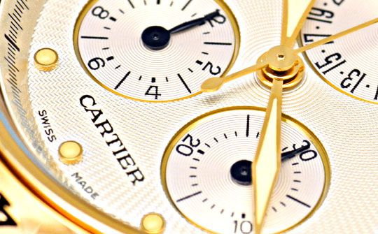 Foto 3, Cartier Pasha Chronograph Gelbgold, Kroko Faltschliesse, U1196