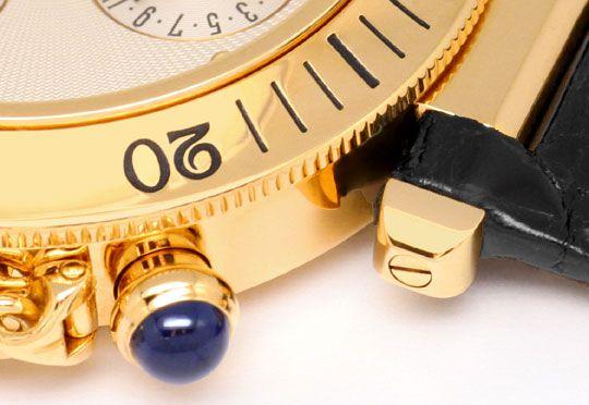 Foto 4, Cartier Pasha Chronograph Gelbgold, Kroko Faltschliesse, U1196