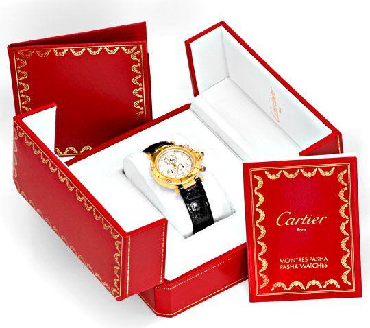 Foto 6, Cartier Pasha Chronograph Gelbgold, Kroko Faltschliesse, U1196