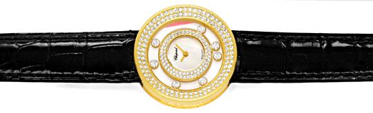 Foto 1, Damenuhr Chopard Happy Diamonds 201 Brillanten Perlmutt, U1199
