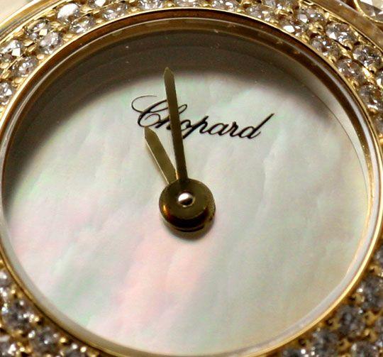 Foto 3, Damenuhr Chopard Happy Diamonds 201 Brillanten Perlmutt, U1199