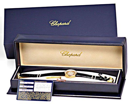Foto 9, Damenuhr Chopard Happy Diamonds 201 Brillanten Perlmutt, U1199