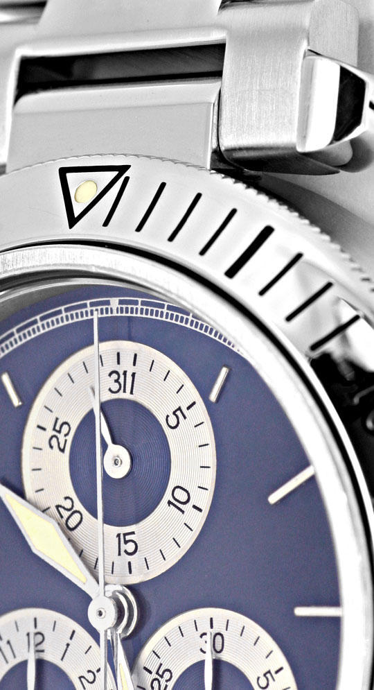 Foto 3, Cartier Pasha Chronograph Herrenarmbanduhr Stahl Topuhr, U1202