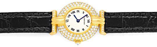 Foto 1, Cartier Colisee Diamantgehäuse Damenarmbanduhr 18K Gold, U1203