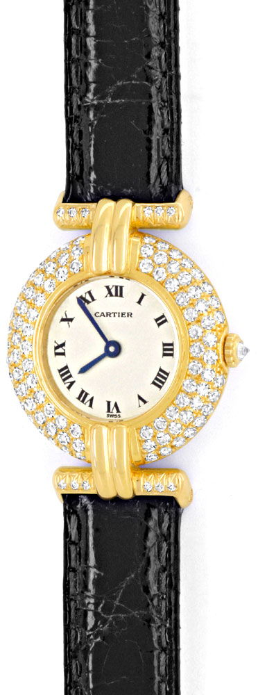 Foto 2, Cartier Colisee Diamantgehäuse Damenarmbanduhr 18K Gold, U1203