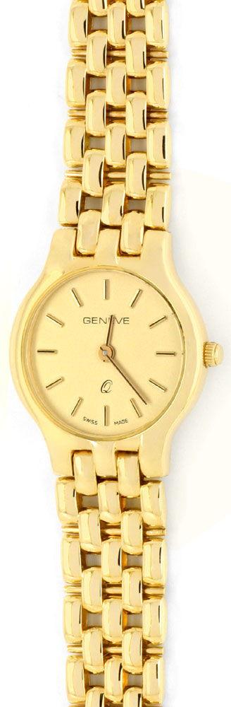 Foto 2, Damenarmbanduhr massiv Gelbgold Goldsportarmband Topuhr, U1206
