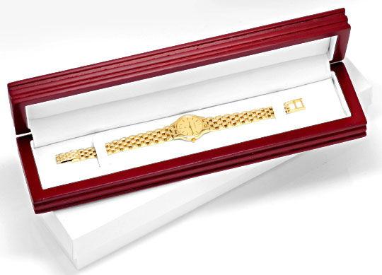Foto 6, Damenarmbanduhr massiv Gelbgold Goldsportarmband Topuhr, U1206