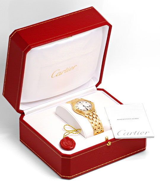 Foto 5, Panthere Cougar.de Cartier Herren Uhr Gelb Gold Geprüft, U1216
