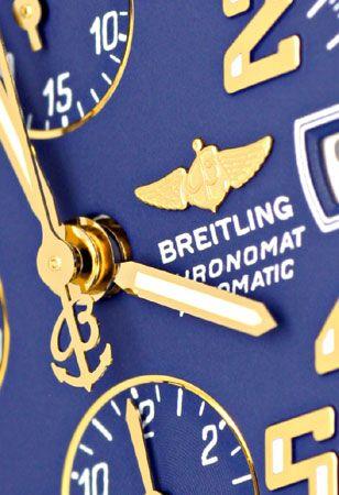 Foto 3, Breitling Gold Lünette Windrider Chronomat Pilotarmband, U1219