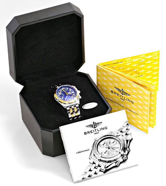 Foto 6, Breitling Gold Lünette Windrider Chronomat Pilotarmband, U1219