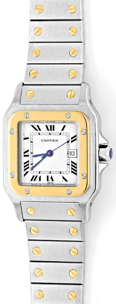 Foto 2, Santos.de Cartier Herren Uhr Stahlgold Automatik Topuhr, U1220